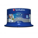 Verbatim 43812 Blu-ray Datalife BD-R 6x Inkjet Printable 25GB in 50 TUB
