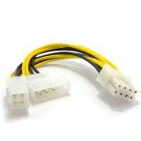 4 Pin ATX & 4 Pin LP4 Molex to 8 Pin EPS Power Adapter Cable For PSU