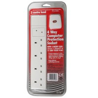 Red Grey Surge Protection 4 Way Extension Socket for Computers etc - 2M