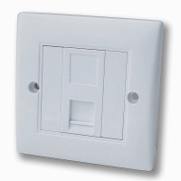 PromoValue 1 Gang Cat5e Soft Edge Flush Mounted Socket/Faceplate in White - 691-3157