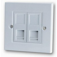 PromoValue 2 Gang Cat5e Soft Edge Flush Mounted Socket / Faceplate - White