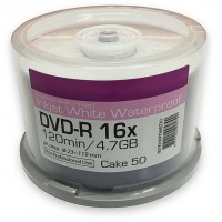 Ritek Excellence Series White Hi Res Waterproof Inkjet Printable 16x DVD-R Discs - 50 Tub
