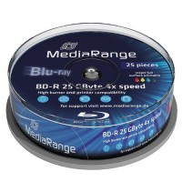 MR504 MediaRange 4x Blu-ray Full Face Printable BD-R 25GB Disc in 25 TUB - BluRay - Digitalpromo