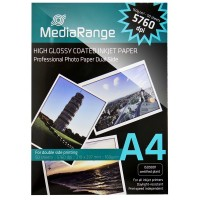 MediaRange MRINK108 5760dpi High Gloss White Double Sided Photo Inkjet Paper A4 160gsm - 50 Sheets