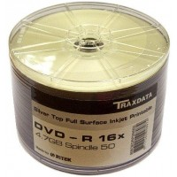 Traxdata 16x Silver Full Face Printable DVD-R - 50 PACK