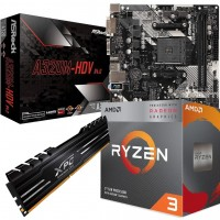 AMD Ryzen Bundle: AMD Ryzen 3 3200G Quad Core CPU with Vega 8 Graphics, ASRock AM4 A320M HDV mATX Motherboard, Stealth Cooler & 8GB DDR4 Memory Module