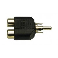 1 x Phono Plug to 2 Phono Sockets Gold Adaptor (AC-016G) - OEM