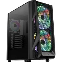 Aerocool AirHawk Duo Black Mid Tower Tempered Glass PC Gaming Case