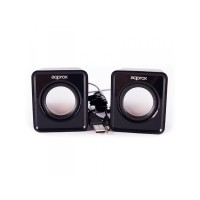 Approx 2.0 Mini Multimedia Stereo Speakers, 5W RMS, BLACK, Retail