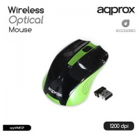 Approx APPWMEGP Wireless Full Size Optical Mouse, 1200 DPI, Nano USB Adapter, Black & Green