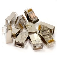 PromoValue Quality Metal RJ45 Shielded Cat5e Network Connectors in 10 PACK