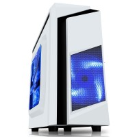 CiT F3 White Midi Case With 12cm Blue LED Fan & Black Stripe - No Power Supply