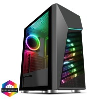 CiT Alpha Mid Tower PC Gaming Case with 3x RGB Velocity Fans with Tempered Glass Side