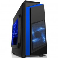 CiT F3 Black Midi Case With 12cm Blue LED Fan & Blue Stripe - No Power Supply