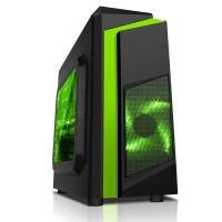 CiT F3 Black Midi Case With 12cm Green LED Fan & Green Stripe - No Power Supply