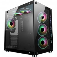 CiT Jupiter Mid Tower Glass Front & Side, 6x ARGB Dual Chamber Gaming Case