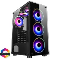 CiT Mirage F6 Black Mid Tower Tempered Glass PC Gaming Case with 6 x 120mm RGB Fans