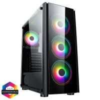 CiT Tornado Mid Tower PC Gaming Case with 4x ARGB LED Fans Tempered Glass Window