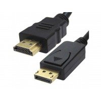 Display Port Plug to HDMI Male Plug - Graphics / Monitor / TV Cable - 2m