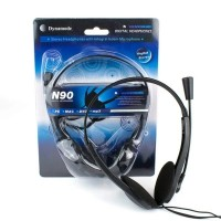 Dynamode Over Head Stereo Headphones with Integral Boom Microphone - SKYPE/VoIP Ready
