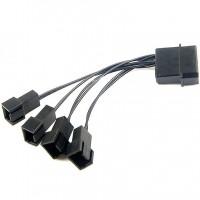 Black 12V Molex To 4 Way 3 Pin Power Multi Fan Splitter Adapter