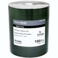 FalconMedia Pro CD-R 52x FTI 700MB W/S Dupli-Line Thermal White Printable Spindle 100