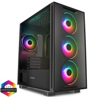 GameMax Commando TG Mid Tower PC Gaming Case with 4x ARGB Razor Extreme Fans and Tempered Glass Side