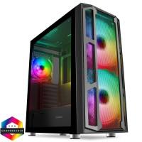 GameMax F15M Mesh Gaming Case 2 x 20cm ARGB Front Fans 1 x 12cm Rear ARGB Fan, Glass Front & Side