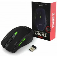 Jedel W400 Wireless Optical Gaming Mouse 2.4Ghz 1600dpi USB Black & Green