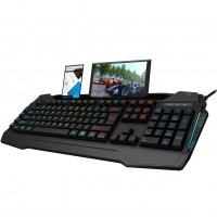 CIT Connect RGB Colour USB Wired PC Keyboard with Phone Rest and USB Hub
