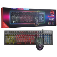 Marvo Scorpion KM409 7 Colour Rainbow LED USB Gaming Keyboard & Mouse Combo Set