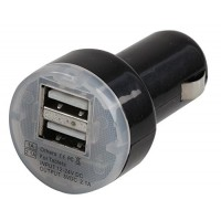 Dynamode Mini In Car Charger Adapter with 2 USB Charging Ports for iPad/iPhone etc. USB Devices - Black