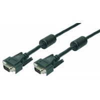 LogiLink VGA HD Sub 15pin Male to 15pin Male Shielded Extension Cable with Ferrite Cores - 2 Metre Length