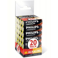 Philips PowerLife LR6PX20C/10 Alkaline AA 1.5v Batteries (20 per pack) - Retail