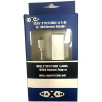 Maxam USB 3.1 Type C MALE to RJ45 10/100 Ethernet Adapter