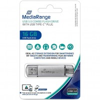 MediaRange MR935 16GB USB3.0 Combo Flash Drive with USB Type-C Plug