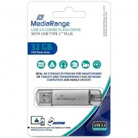 MediaRange MR936 32GB USB3.0 Combo Flash Drive with USB Type-C Plug
