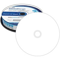 MR509 MediaRange Blu-ray Full Face Printable BD-R DL 50GB 6x Speed Dual Layer Disc - 10 TUB - MediaRange