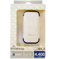 MediaRange MR741 Portable Battery Power Bank, 5v to 5.5V 1A, 4400 mAh, White & Blue