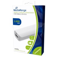 MediaRange MR745 Portable Mobile Charger - Powerbank, 5V 1A, 2600 mAh in White & Grey