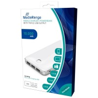 MediaRange MR747 Portable Mobile Charger with Triple USB Output - Powerbank, 5V 1A, 10,000 mAh in White & Silver