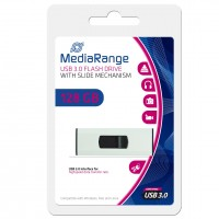 MediaRange 128GB USB3.0 Superspeed Capless Flash Drive with Slide Mechanism - MR918