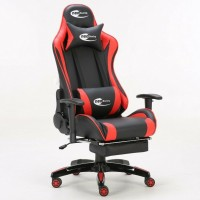 Neo High Back Racing Gaming Chair Black / Red with Arm Rests and Foot Rest