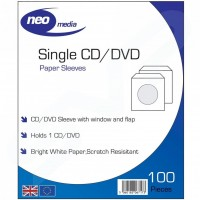 NEO Single CD / DVD Paper Sleeves with Window and Flap - Pack of 100