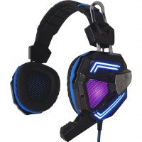 Sandberg (125-78) Cyclone Gaming Headset, 40mm Driver, Boom Mic, Multi-LED Lights, Black & Blue