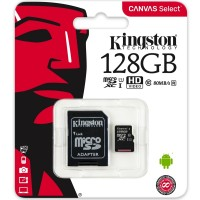 Kingston SDCS 128GB Micro SD Canvas Class 10 UHS-I Memory Card with SD Adapter