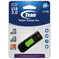 Team Group C145 64GB USB 3.0 Flash Drive - Black/Green - TC145364GG01