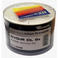 Traxdata 8x DUAL LAYER+R Full Face Printable 8.5GB DVD+R in 50 PACK