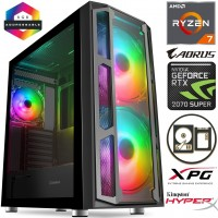 TechTribe F15 Ryzen 2700X Eight Core, 16GB RGB RAM, 2TB Hard Drive & 256GB M.2 SSD, 8GB Nvidia Geforce RTX 2060 SUPER Graphics, Gaming Desktop - Win 10