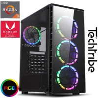 Techtribe Raider Vega 8 Gaming PC - AMD Ryzen Quad Core, 8GB Memory, 120GB SSD, 1TB HDD, Vega 8 Graphics, Windows 10 - RGB LEDs